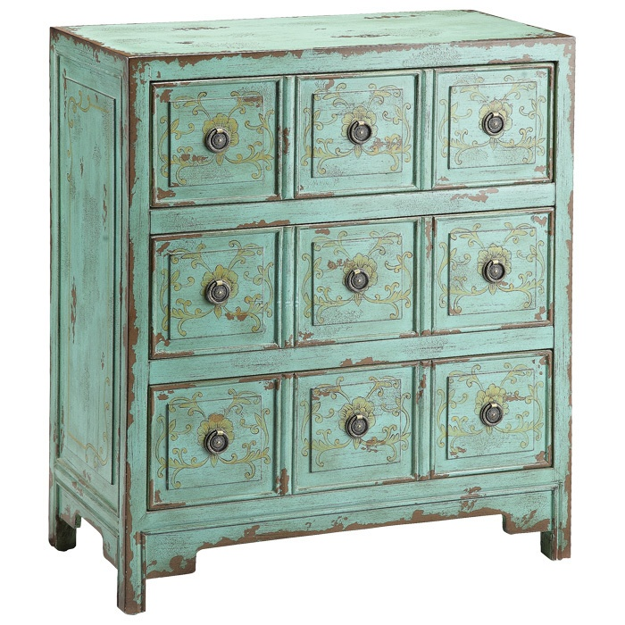 Lacy Accent Chest. love the colour and old look and the many small drawers. Has a Korean look to it...Could use for living room/kitchen/office or bedroom!