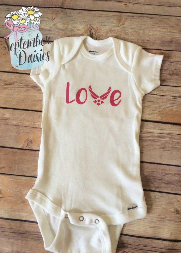 Air Force Love Onesie - Military Love Onesie - Air Force Baby Outfit - Navy Baby Outfit - Army Baby Outfit- Military Onesie - $12.60 USD