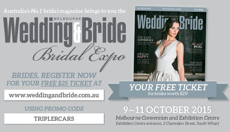 Only a few free tickets left for this weekends massive bridal expo. Use our promo code TRIPLERCARS to receive your free ticket. We will be running our expo competition so make sure you enter for your chance to win $560 towards your wedding car hire.  Click the link below to claim your free ticket and use our promo code  TRIPLERCARS  https://tickets.exponews.com.au/683