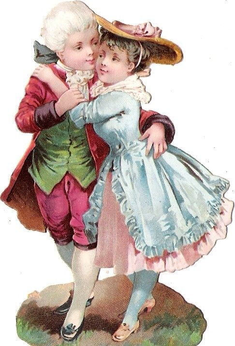 Oblaten Glanzbild scrap die cut chromo lady Kind enfant couple Paar child
