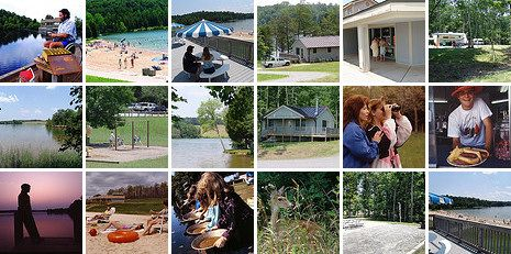 Lake Anna State Park in Virginia has rental cabins, camping, more than 15 miles of hiking trails, lakeshore picnicking, a guarded swimming beach, a children's play area, a boat ramp, a food concession stand, a bathhouse and a children's and universally accessible fishing pond.