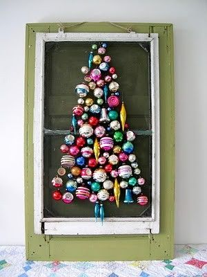 Christmas tree from ornaments on an old window screen. Lace and John
