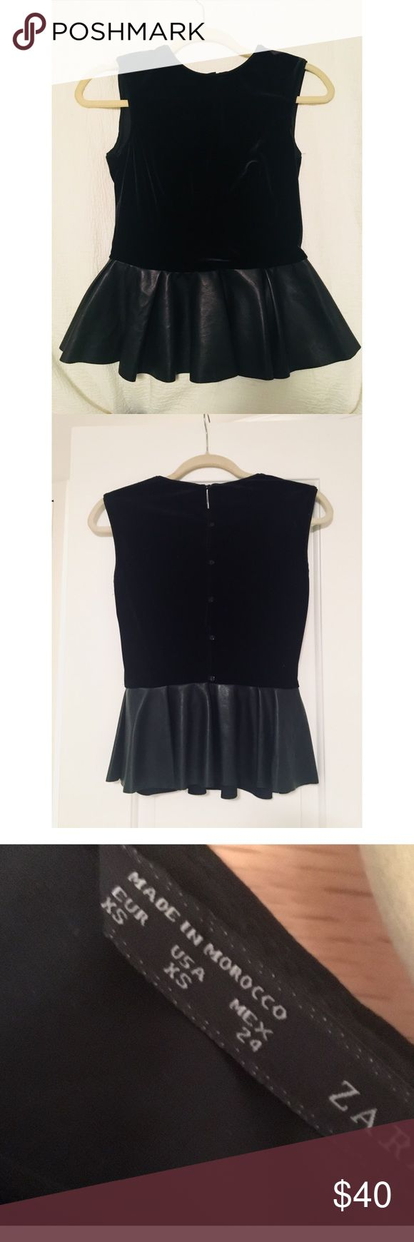 Zara Velvet and Faux Leather Peplum Top Faux leather and peplum top. Buttoned down the back. Zara Tops Blouses
