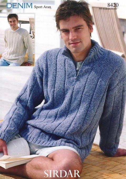 Knitting Pattern Half Zip Sweater : Mens half-zip sweater pattern USD5.95 sirdar8420.PDF-1main.jpg Fiber, I ...