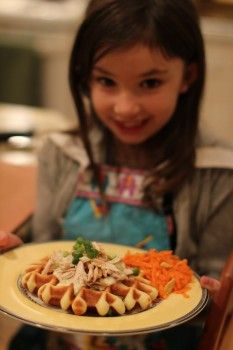 Cooking with Kids: chicken waffles and carrot salad - so easy and fun to make! A great project to do together!