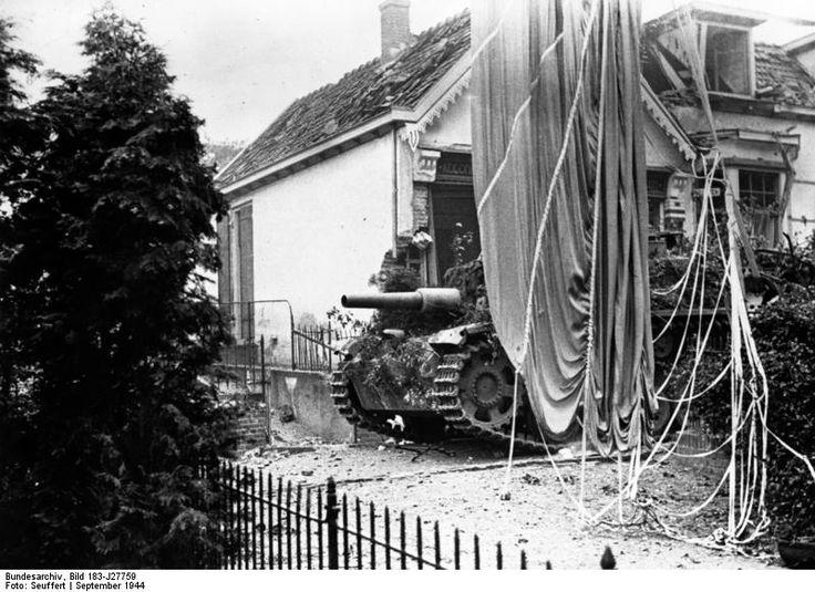 A German assault gun in the Oosterbeek battle.