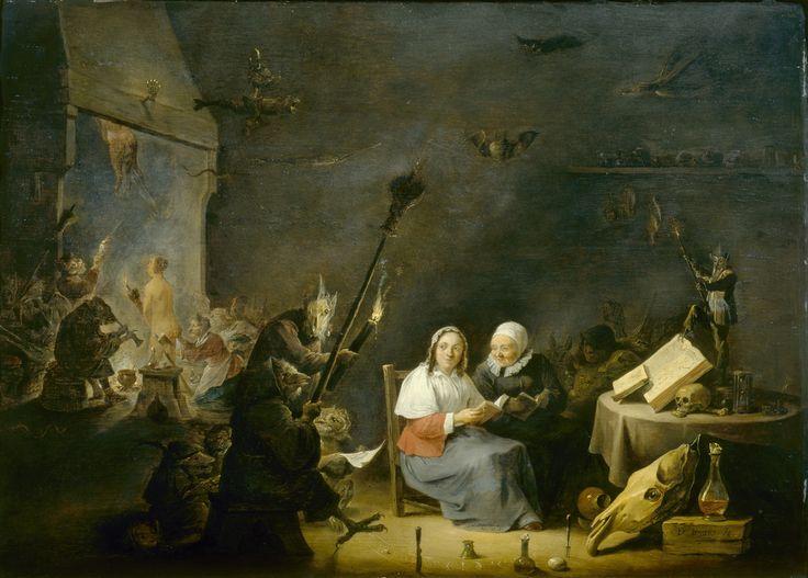 Vertrek naar de sabbat. David Teniers II, ca. 1640-1650. Teniers maakt van deze heksenvoorstelling een bijna ingetogen genrevoorstelling. De vrouwen zijn minder rijk gekleed. Weifelend kijkt de jonge vrouw met blauwe rok over haar schouder. Haar blik rust op de haard waar naakte vrouwen leren vliegen. Binnenkort is het haar beurt en wordt ook zij ingewijd in de toverkunsten van de heksen. Ter inspiratie voor de angstaanjagende demonen gebruikt Teniers skeletten en verdroogde vissen.