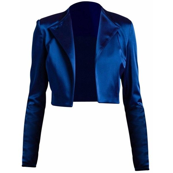 Philosofée - Satin Cropped Jacket Blue ($375) ❤ liked on Polyvore featuring outerwear, jackets, blue, blue short jacket, short cropped jacket, tailored jacket, satin jackets and collar jacket
