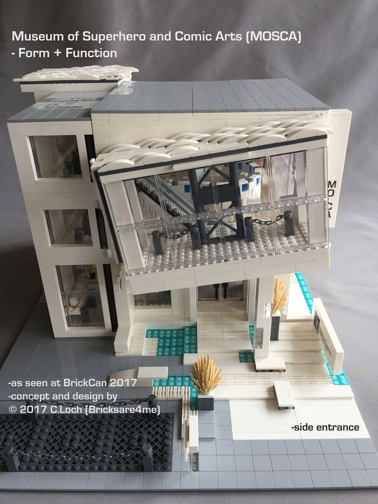 An original MOC built by AFOL © 2017 C.Loch (Bricksare4me) - side entrance with closed weapons cabinet and outdoor vehicle exhibit area. Blogged on https://www.archbrick.com/single-post/2017/05/05/MOSCA and interviewed at Lisaloveslego.com. #legobricks #moc #afol #modernarchitecture #photography #legobuildings #moderndesign #legomoc #museum #bricksare4me #superhero #comics #arts #architecturelego