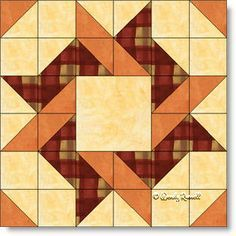 Love when a block looks so complicated but is very easy to make.  Great block to use Fall fabrics in too.  Frolic Quilt Block