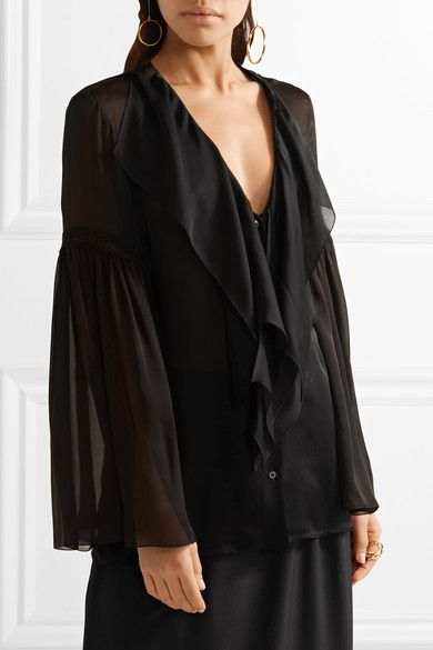 Black silk-chiffon and crochet Button fastenings through front 100% silk Dry clean Made in Italy