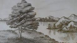 Como Dibujar un Paisaje a Lápiz, paso a paso: Agua, Árboles(pinos), y Montañas. - YouTube
