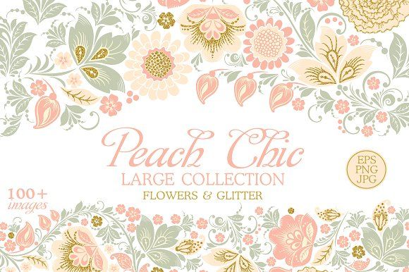 Glitter Floral Peach chic. 50% off by antuanetto on @creativemarket