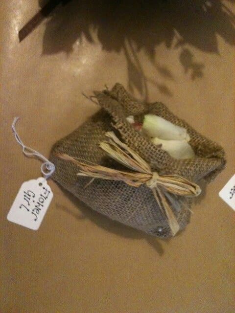 Rose petals for Flower girl in handmade hessian bag