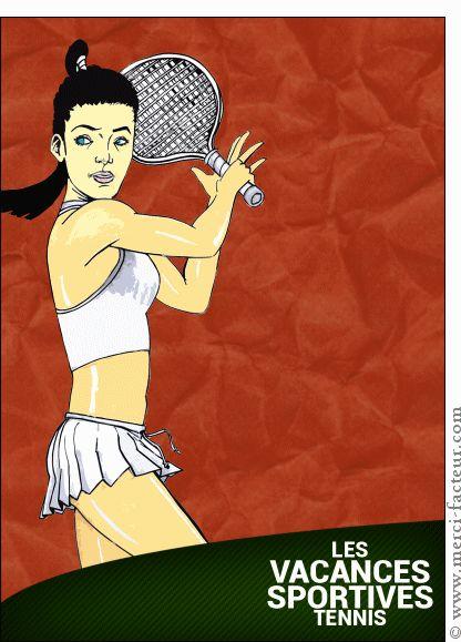 Carte Vacances sportives tennis pour envoyer par La Poste, sur Merci-Facteur !