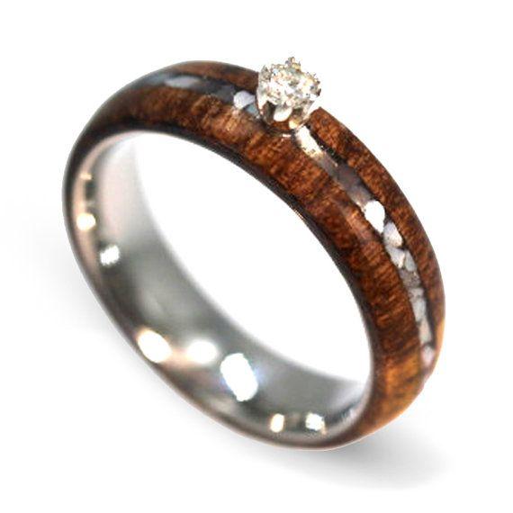 Solitaire diamant verlovingsring, moeder van Pearl Ring met Honduras Rosewood, houten Ring voor vrouwen