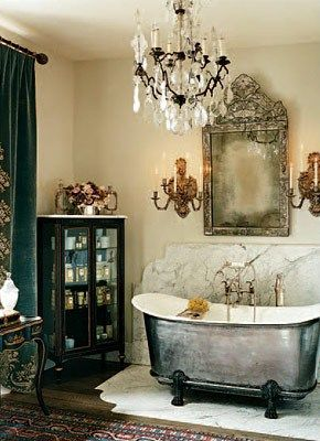 marble bath surround with old world feel
