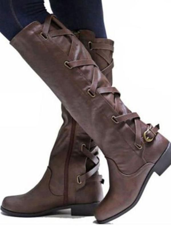 59fbc35433f3 Women s Riding Boot Winter Knee High Lace Up Faux Leather Criss Cross Strap  Buckle Shoes