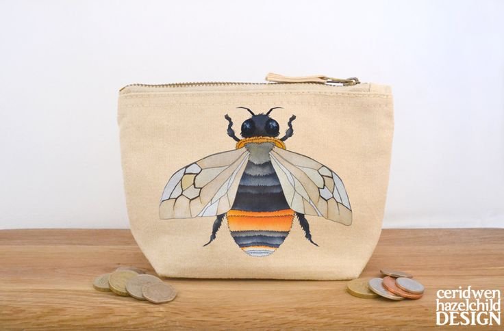 Bee Canvas Zip Purse Makeup Bag Coin Purse Small Accessory Pouch (6.75 GBP) by ceridwenDESIGN
