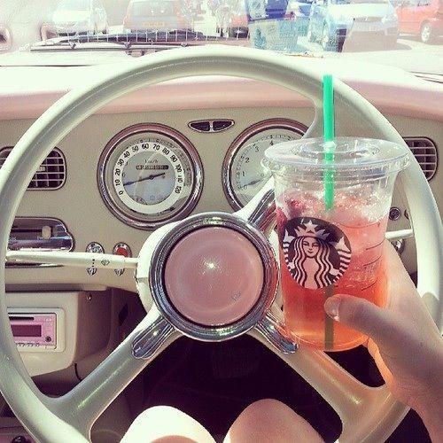 Pretty girly things. Cute and girly #starbucks #pink #vintagecar