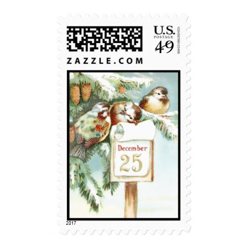 Birds Snow December 25 Christmas Postage Stamps