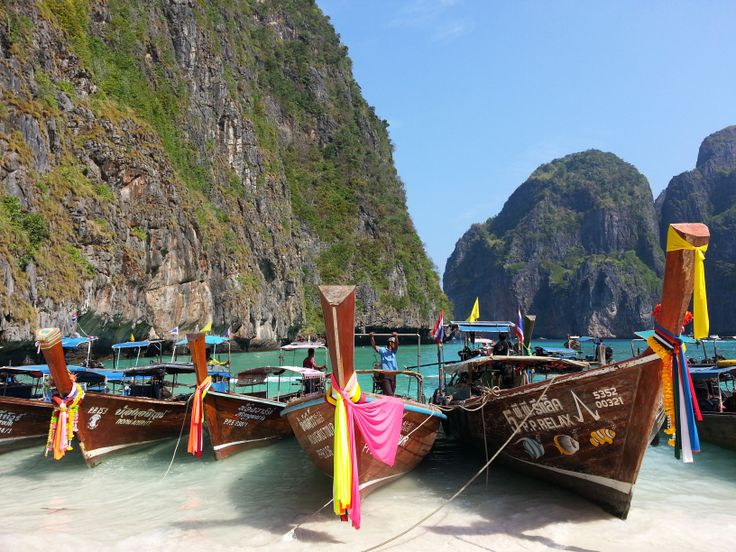 Longtail boats on the shores of Phi Phi Island, Thailand.