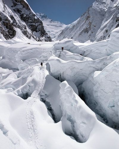 These climbers are approaching the top of the Khumbu Icefall, heading into Western Cwm.