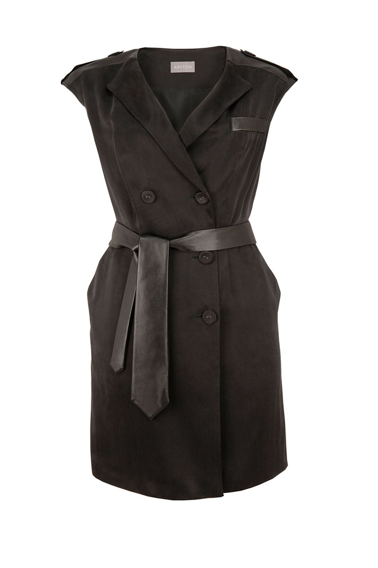 Aryton Czarna sukienka cupro/ Cupro dress