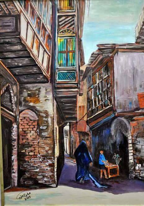 الفنان العراقي..عباس الزهاوي..خانقين 1956....شناشيل بغدادية......................2