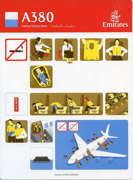 Best Aircraft Safety Card Images On   Aircraft