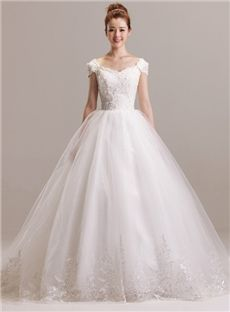 Garden/Outdoor Beading Natural Court Cap Sleeves Plus Size Lace-up Floor-Length Wedding Dress