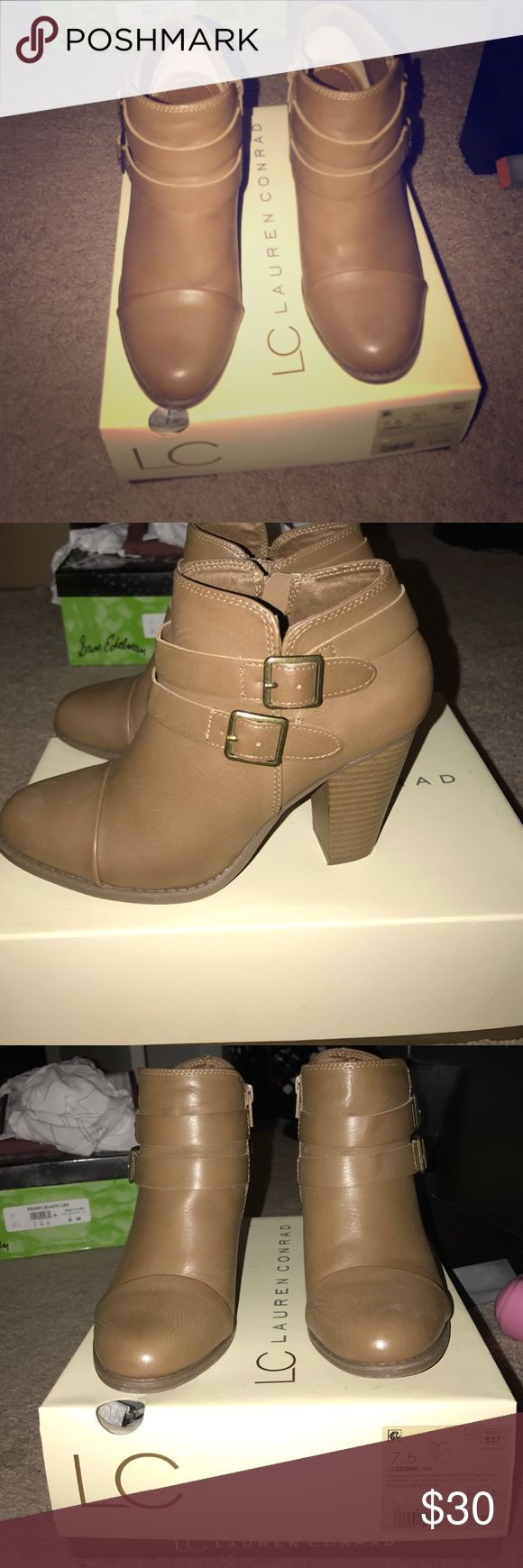 Lauren Conrad tan booties Lauren Conrad tan booties with side double buckle in tan. Wore once, gently worn. Have original box. LC Lauren Conrad Shoes Ankle Boots & Booties