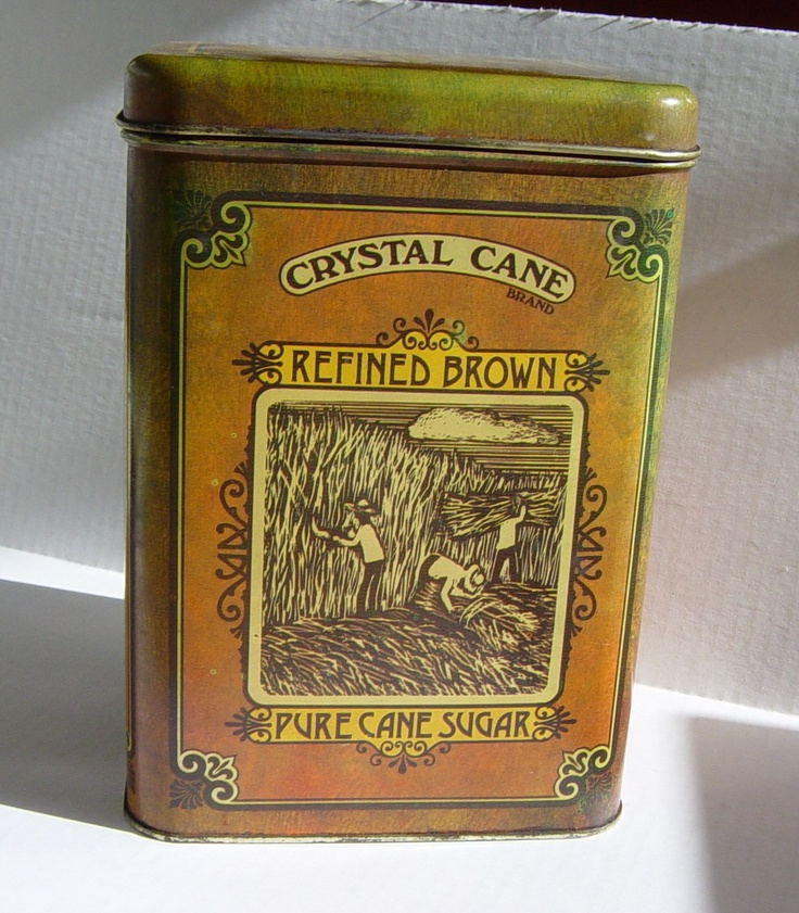 vintage metal storage tin container sugar cane theme by