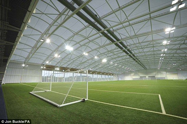 Lush: The indoor Astroturf football pitch will be used for training games when the England team move in next month