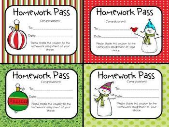 FREE Christmas Homework Passes