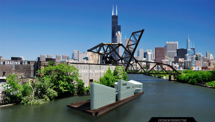 Studio Project. Chicago River barge. Floating Artist's Community.