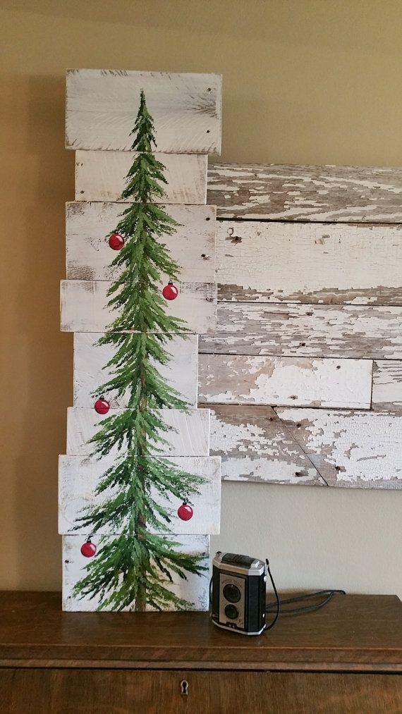 Christmas tree white washed red bulbs Pine by TheWhiteBirchStudio