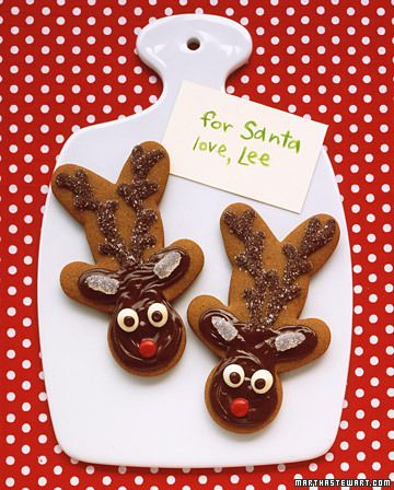 Gingerbread Reindeer    To make a reindeer's head, turn a gingerbread man on his. Add a face, ears, and antlers with melted chocolate chips, sanding sugar, gumdrops, and other candy.