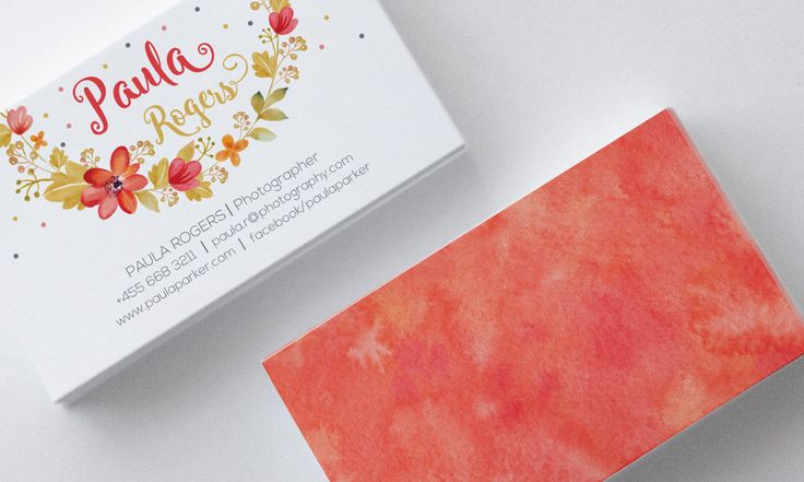 Business Card Design, Watercolor Wreath Flowers, Customizable, Coral, Pink, Red by SmallBottleCreations on Etsy