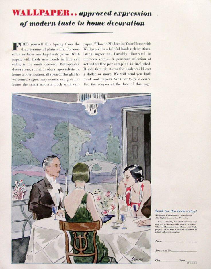 1929 Wallpaper Manufacturer's Association Ad - Modern Wallpaper Design - 1920s Imperial Roofing Tiles Ad - Watercolor Illustration Art by RetroReveries on Etsy https://www.etsy.com/listing/231141913/1929-wallpaper-manufacturers-association