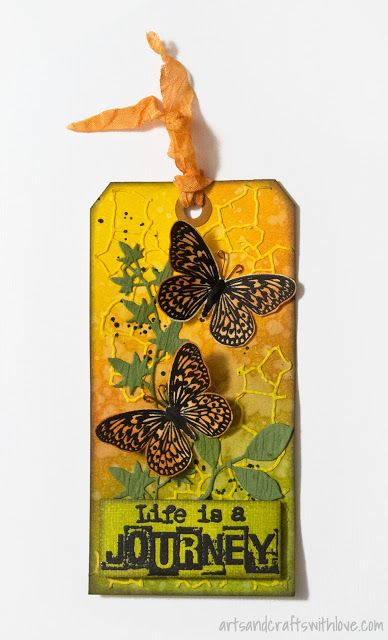 'Live is a Journey'. Inked tag with die-cut and stamped embellishments. -by Elina Stromberg-