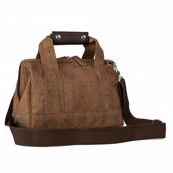 A bag made from natural cork! Cork Cabin Bag Hand Luggage 31 x 19 x 22 cm Cool Gift by Corkor, $105.00