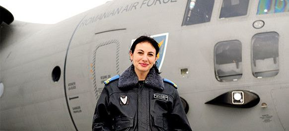 Simona Maierean - First woman pilot of supersonic aircraft in Romania. Plus she flys the Italian built C-27j Spartan as shown in the pictures