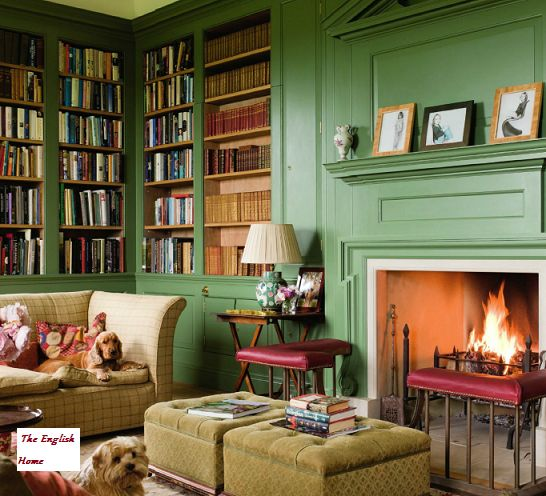 The library at the south Devon home of Lucy and Sebastian Fenwick and their son Ned. An early nineteenth-century mansion in nurtured back to life by architects, master craftsmen, and historical experts in an award-winning home restoration.