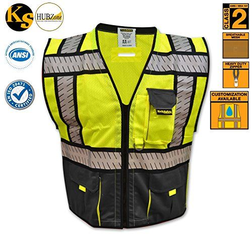 KwikSafety Fishbone Tape Design Safety Vest | High Visibi...