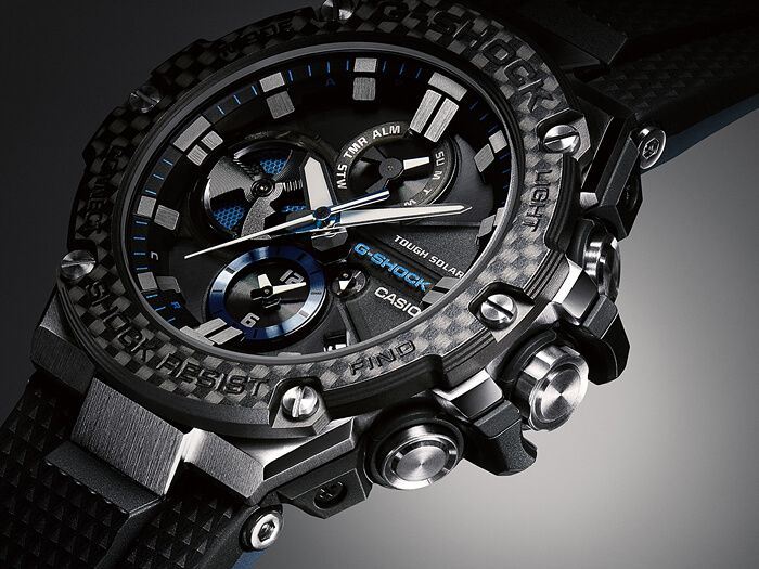 859b566e484 G-Shock G-STEEL GST-B100XA-1A Silver Black Blue with Carbon Fiber Bezel  Angel View
