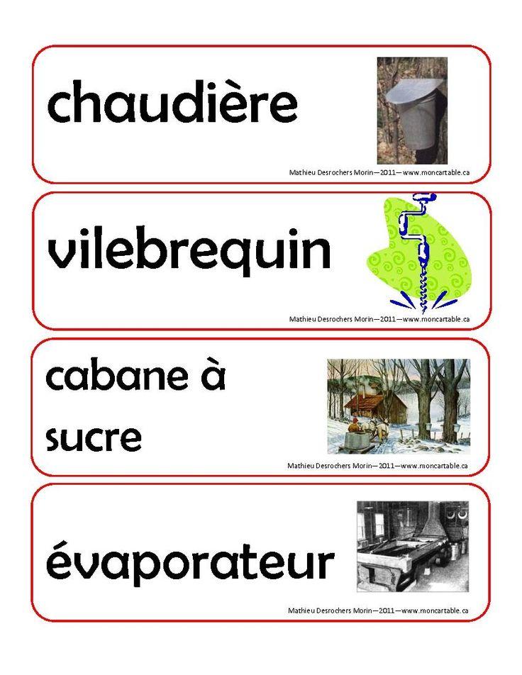 Vocabulaire sur le site: http://www.moncartable.ca/spip.php?rubrique41