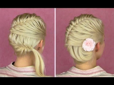 French fishtail braid tutorial for short and long hair Side bun updo.