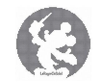 Cross stitch pattern Mickey Mouse Disney Fantasia silhouette.
