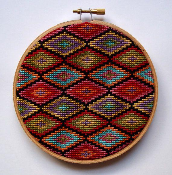 Turkish Rug Cross Stitch Pattern Diamond Motif Digital